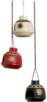 ExclusiveLane Handpainted Metal Hanging Set Of 3 Iron 1 - Cup Tealight Holder (Red, White, Black, Pack Of 1)
