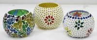 CraftJunction Handmade Mosaic Tealight Set Of 3 Glass 3 - Cup Tealight Holder Set (Multicolor, Pack Of 3)
