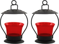 My Art Romantic Iron, Glass 2 - Cup Candle Holder Set (Red, Pack Of 2)