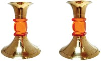 Decorate India Brass 2 - Cup Candle Holder Set (Multicolor, Pack Of 2)