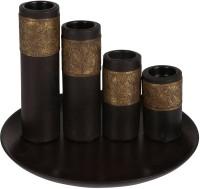 Rajrang Floral Candle Holder Wooden 4 - Cup Candle Holder Set (Brown, Pack Of 5)