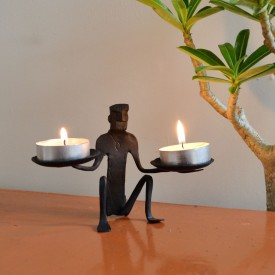 Chinhhari Arts Tribal Candle stand Iron 2 - Cup Candle Holder