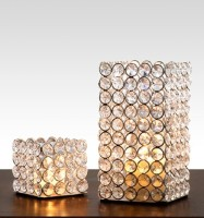 Being Nawab Lustrous Set Of Cubicles Crystal, Iron 2 - Cup Tealight Holder Set (White, Silver, Pack Of 2)
