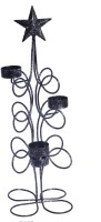 Sutra Decor Star Iron Candle Holder (Black, Pack Of 1)