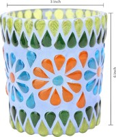 Indigenous Glass 1 - Cup Candle Holder (Multicolor, Pack Of 1)