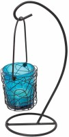 Painting Mantra Metal Hanging Blue Bucket Aluminium 1 - Cup Tealight Holder (Multicolor, Pack Of 1)