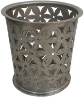 Indune Lifestyle Glass Iron Tealight Holder (Silver, Pack Of 1)