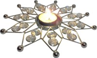 Decor8 Crystal & Sun Shape T Light With Iron 1 - Cup Candle Holder (Silver, Pack Of 1)