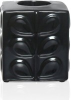 @home Stone Glit Stoneware Candle Holder (Black, Pack Of 1)