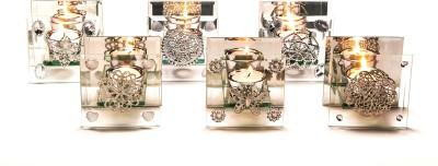 Importwala Glass Tlite Set of Asstd Pcs Glass Tealight Holder Set Clear, Pack of 6