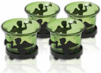 Painting Mantra Designer & Decorative Green Wax Candles Glass 1 - Cup Tealight Holder Set (Green, Pack Of 4)