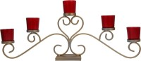 @home Glass 5 - Cup Tealight Holder (Gold, Red, Pack Of 1)