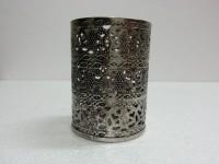 Dazzlingdelineations Small Nickel Finish Cut Tea Light Votive Iron, Nickel Tealight Holder (Steel, Pack Of 1)