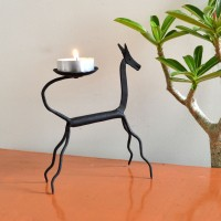 Chinhhari Arts Horse Candle Stand Iron 1 - Cup Candle Holder (Black, Pack Of 1)