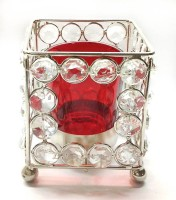 Reverence Crystal, Iron, Glass Tealight Holder (Red, Pack Of 1)