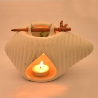 ExclusiveLane Ceramic Oil Burner Ceramic 1 - Cup Tealight Holder (White, Pack Of 3)