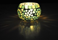 Lal Haveli Decorative Colorful Glass 1 - Cup Tealight Holder (Green, Pack Of 1)