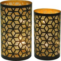 Logam Logam Geo Moroccan Tea Light Votive Holders(Set Of Two) Iron 2 - Cup Tealight Holder Set (Black, Pack Of 2)