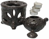 Painting Mantra Antique Ceramic 3 - Cup Tealight Holder (Black, Pack Of 5)