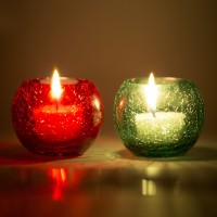 Derien Glass 2 - Cup Tealight Holder Set (Red, Green, Pack Of 2)