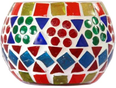 Villcart Royal Glass Glass Candle Holder Multicolor, Pack of 1