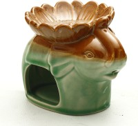 Aapno Rajasthan Green Elephant Two In One Oil Burner Ceramic 1 - Cup Tealight Holder (Multicolor, Pack Of 1)