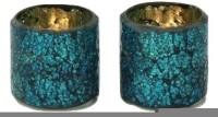 Kala Bhawan Votive Tealight Holder Smart(Set Of 2) Glass 2 - Cup Tealight Holder Set (Multicolor, Pack Of 2)