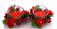 Devinez Glass 1 - Cup Candle Holder Set (Red, Pack Of 2)