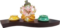 Tiedribbons Exotic Ganesha Wooden 2 - Cup Tealight Holder Set (Multicolor, Pack Of 4)