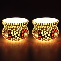 EarthenMetal Handcrafted Matki Shaped Glass 1 - Cup Tealight Holder Set (White, Red, Pack Of 2)