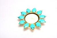 Shrisay Ventures Diwali Flower Shape Light Blue Stone Diya Steel Tealight Holder (Multicolor, Pack Of 1)