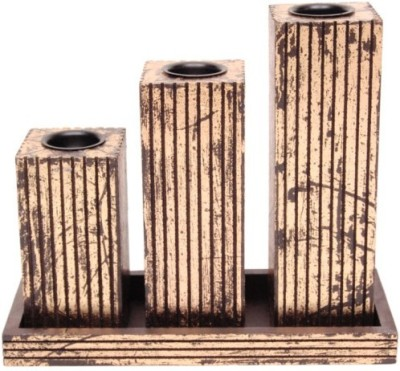 Onlineshoppee Wooden 3 - Cup Candle Holder (Brown, Pack Of 4)