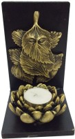 Fabionic Leaf Ganesha Small Single T-Light Wooden 1 - Cup Tealight Holder (Black, Pack Of 1)