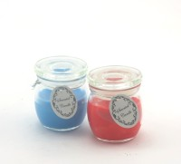 Importwala Importwala Scented Candle Jars- Blue N Red Set Of 2 Glass 2 - Cup Tealight Holder (Multicolor, Pack Of 2)