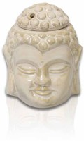 Painting Mantra Buddha Façade With Lid Ceramic 3 - Cup Tealight Holder (White, Pack Of 5)