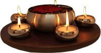 Exciting Lives Light And Aroma Set Wooden, Steel 5 - Cup Tealight Holder (Brown, Silver, Pack Of 6)