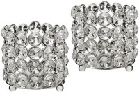 Inspiration World Crystal Votive Set Glass Tealight Holder Set (Silver, Pack Of 2)