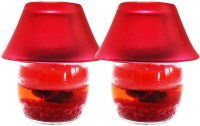 DIZIONARIO Lamp Rose 15cm Glass 2 - Cup Candle Holder Set (Red, Pack Of 2)