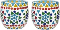 EarthenMetal Glass 1 - Cup Tealight Holder Set (Blue, Multicolor, Pack Of 2)