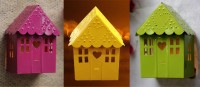 Color Palatte Hut Shaped T Light Holder Iron 3 - Cup Tealight Holder Set (Yellow, Pink, Green, Pack Of 3)