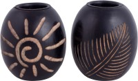 Craft Art India Wooden Candle Holder Set (Brown, Pack Of 2)