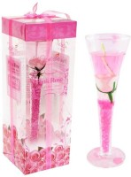 Peepalcomm Decorative Gel Glass Candle (Pink, Pack Of 1)