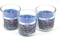 AuraCandles AuraDecor Set Of Three Fragrance Glass Candle ( Lavender ) Candle (Blue, Pack Of 3)
