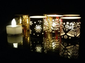 WhitePavo Flickering LED TeaLight - White Flame with X-MAS Designer Paper Votive Wraps and Candle