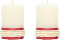 Tvish Candles Decorative Pearl Border Candle (White, Pack Of 2)