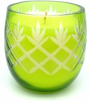 Mysore Scents Jasmine Cut Glass Candle (Green, Pack Of 1)