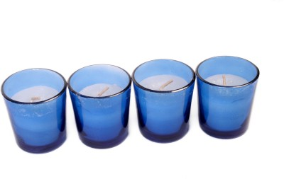 Silverlight Blue Glass Votive Candle (Blue, Pack Of 4)