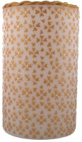 Tvish Candles 6 X 10 -White And Gold Floral Rhapsody Glow Candle Candle (White, Pack Of 1)