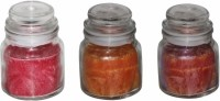 DECO Aro Aroma Jar Candle (Red, Orange, Brown, Pack Of 3)