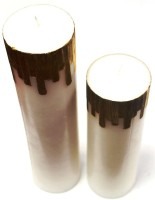 Tvish Candles Set Of Two White And Gold Castle Candle (White, Pack Of 2)